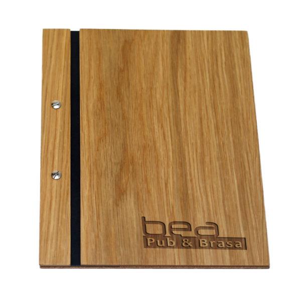 Portamenús de madera personalizado